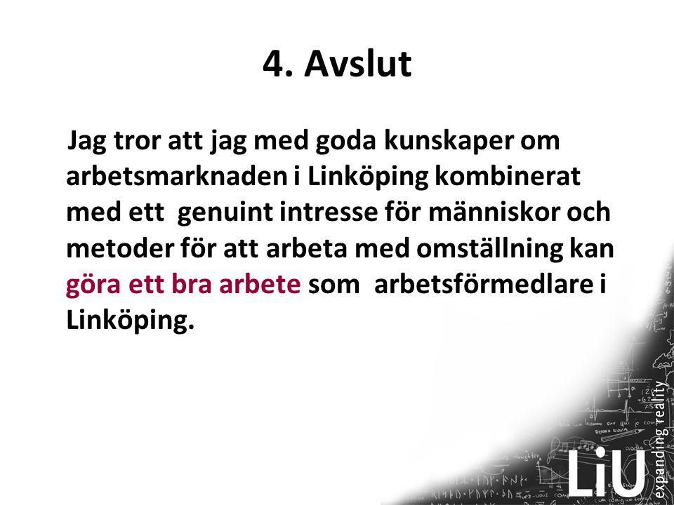 4. Avslut Jag tror att jag med goda kunskaper om arbetsmarknaden i Linköping kombinerat med ett genuint intresse för människor och metoder för att arb