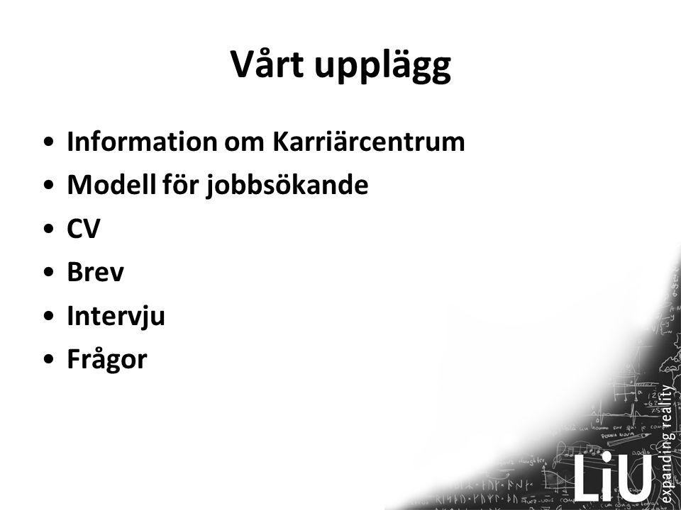 Vårt upplägg Information om Karriärcentrum Modell för jobbsökande CV Brev Intervju Frågor