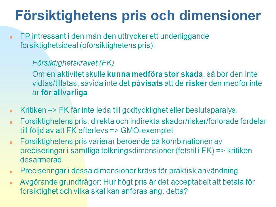 Försiktighetens pris och dimensioner n FP intressant i den mån den uttrycker ett underliggande försiktighetsideal (oförsiktighetens pris): Försiktighe