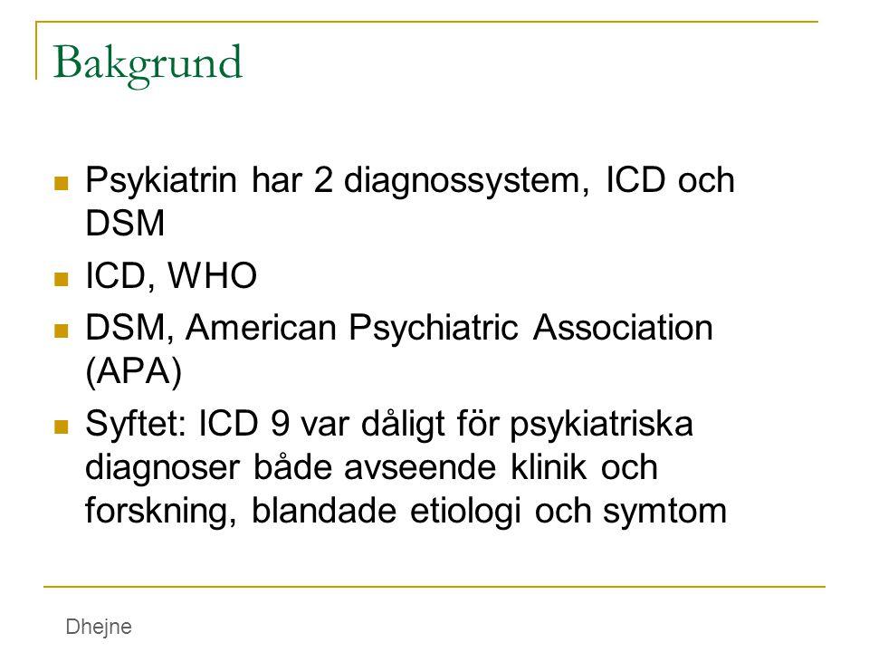 Bakgrund Psykiatrin har 2 diagnossystem, ICD och DSM ICD, WHO DSM, American Psychiatric Association (APA) Syftet: ICD 9 var dåligt för psykiatriska di