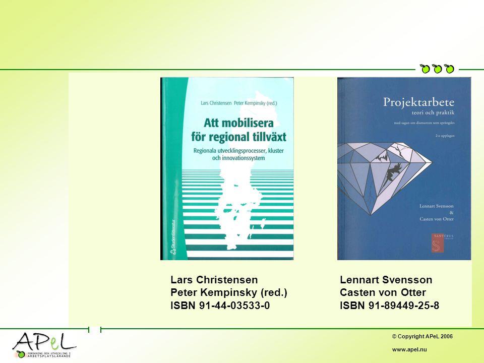 © Copyright APeL 2006 www.apel.nu Lars Christensen Peter Kempinsky (red.) ISBN 91-44-03533-0 Lennart Svensson Casten von Otter ISBN 91-89449-25-8