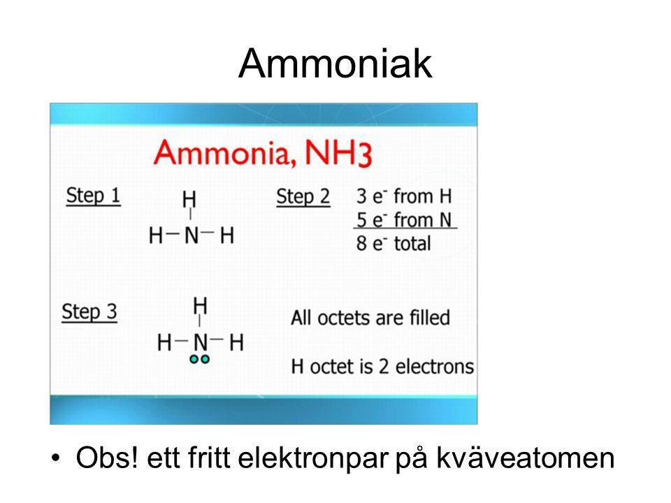 Ammoniak Obs! ett fritt elektronpar på kväveatomen