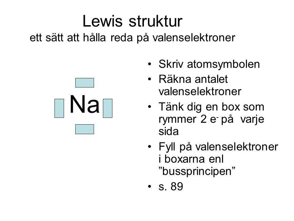 Lewis struktur ett sätt att hålla reda på valenselektroner Skriv atomsymbolen Räkna antalet valenselektroner Tänk dig en box som rymmer 2 e - på varje sida Fyll på valenselektroner i boxarna enl bussprincipen s.