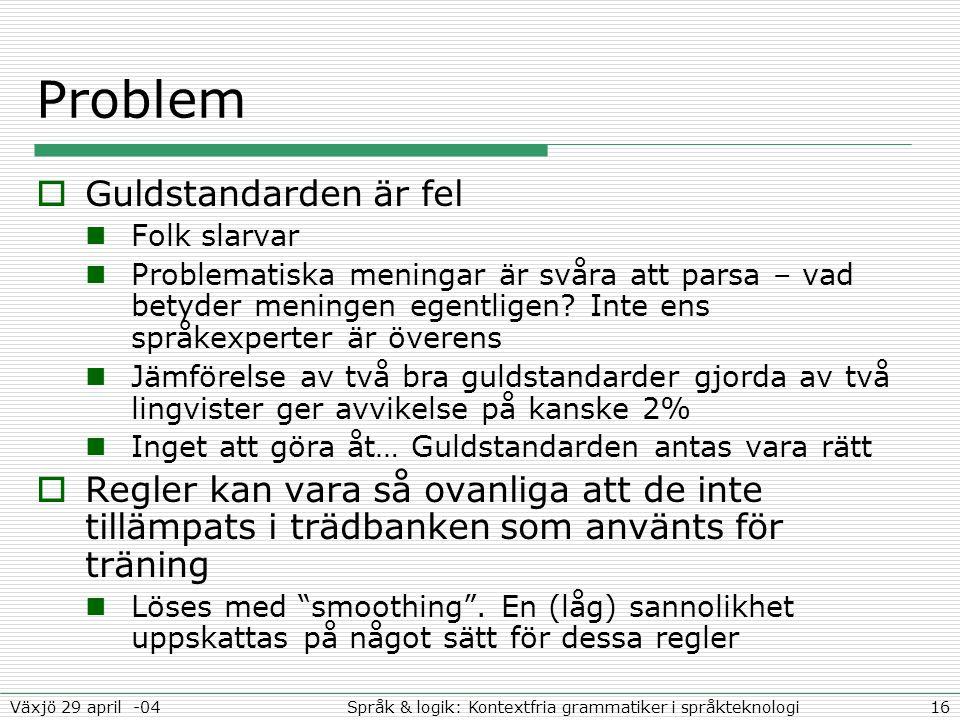 16Språk & logik: Kontextfria grammatiker i språkteknologiVäxjö 29 april -04 Problem  Guldstandarden är fel Folk slarvar Problematiska meningar är svåra att parsa – vad betyder meningen egentligen.