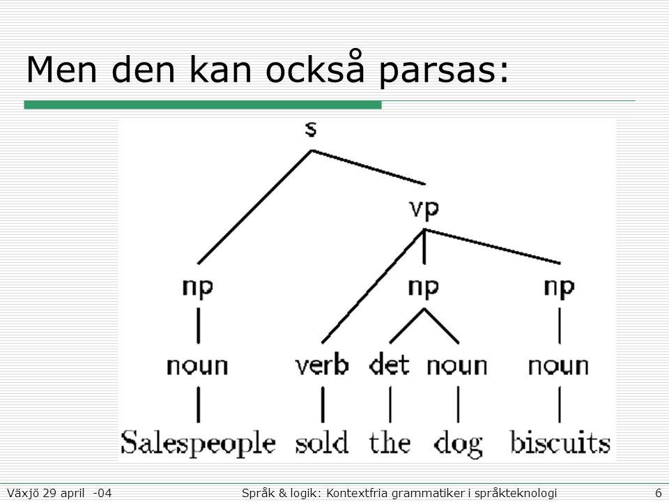 6Språk & logik: Kontextfria grammatiker i språkteknologiVäxjö 29 april -04 Men den kan också parsas:
