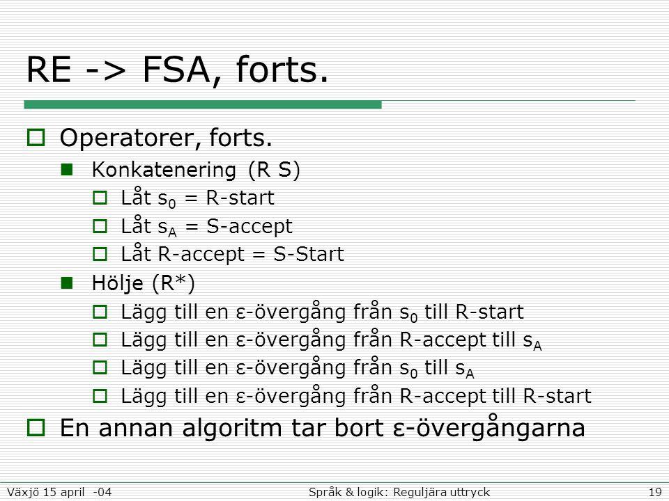 19Språk & logik: Reguljära uttryckVäxjö 15 april -04 RE -> FSA, forts.