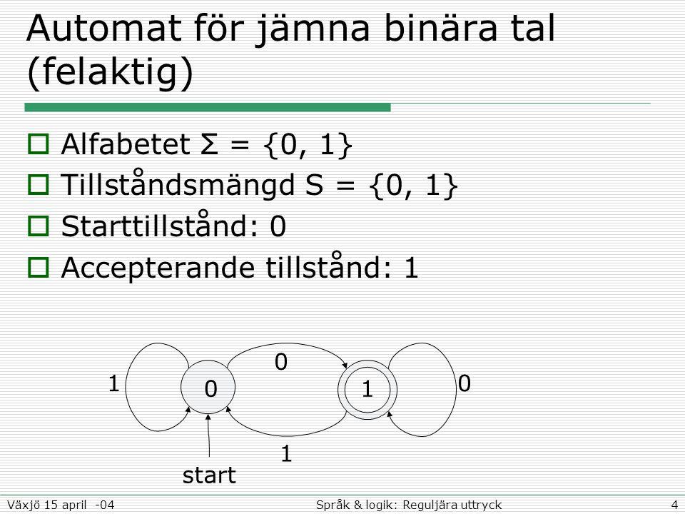4Språk & logik: Reguljära uttryckVäxjö 15 april -04 Automat för jämna binära tal (felaktig)  Alfabetet Σ = {0, 1}  Tillståndsmängd S = {0, 1}  Starttillstånd: 0  Accepterande tillstånd: 1 01 10 start 0 1
