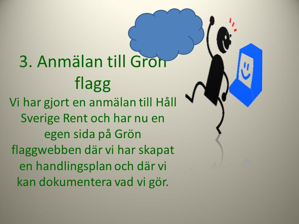 3. Anmälan till Grön flagg Vi har gjort en anmälan till Håll Sverige Rent och har nu en egen sida på Grön flaggwebben där vi har skapat en handlingspl