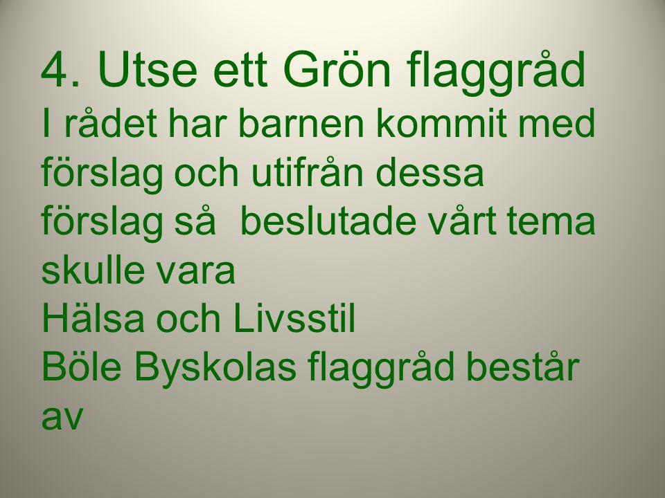 4. Utse ett Grön flaggråd I rådet har barnen kommit med förslag och utifrån dessa förslag så beslutade vårt tema skulle vara Hälsa och Livsstil Böle B