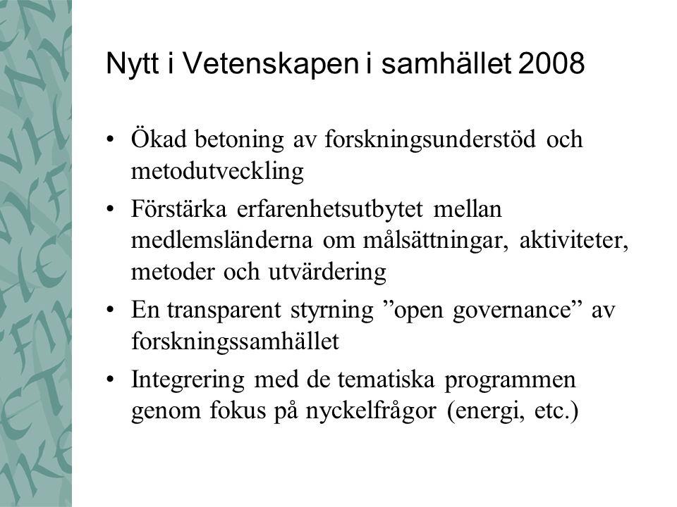 Nytt i Vetenskapen i samhället 2008 Ökad betoning av forskningsunderstöd och metodutveckling Förstärka erfarenhetsutbytet mellan medlemsländerna om må