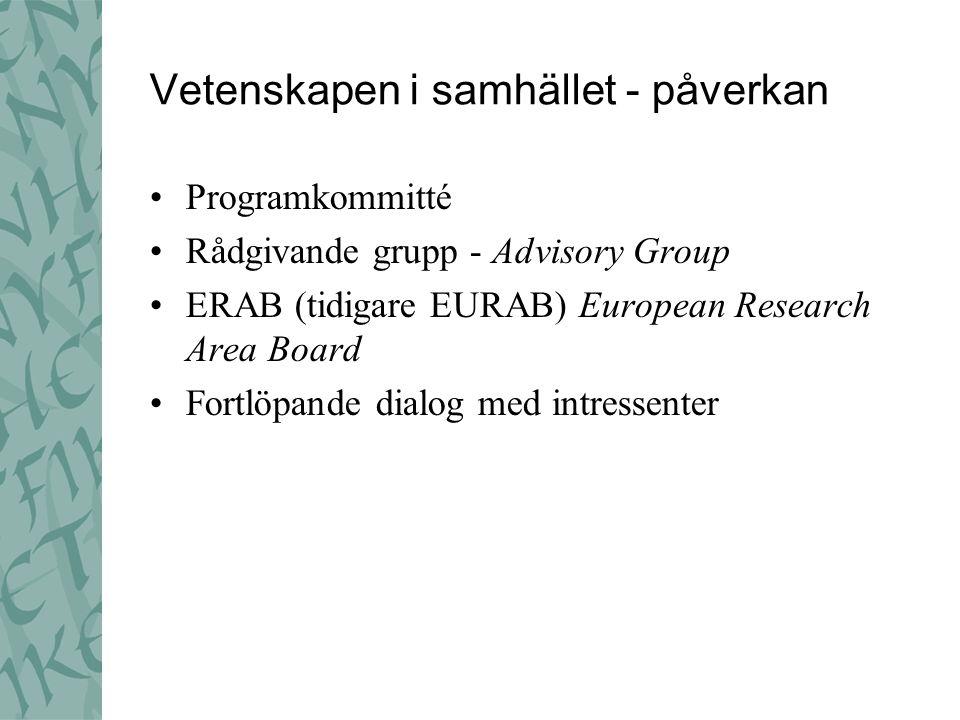 Vetenskapen i samhället - påverkan Programkommitté Rådgivande grupp - Advisory Group ERAB (tidigare EURAB) European Research Area Board Fortlöpande di