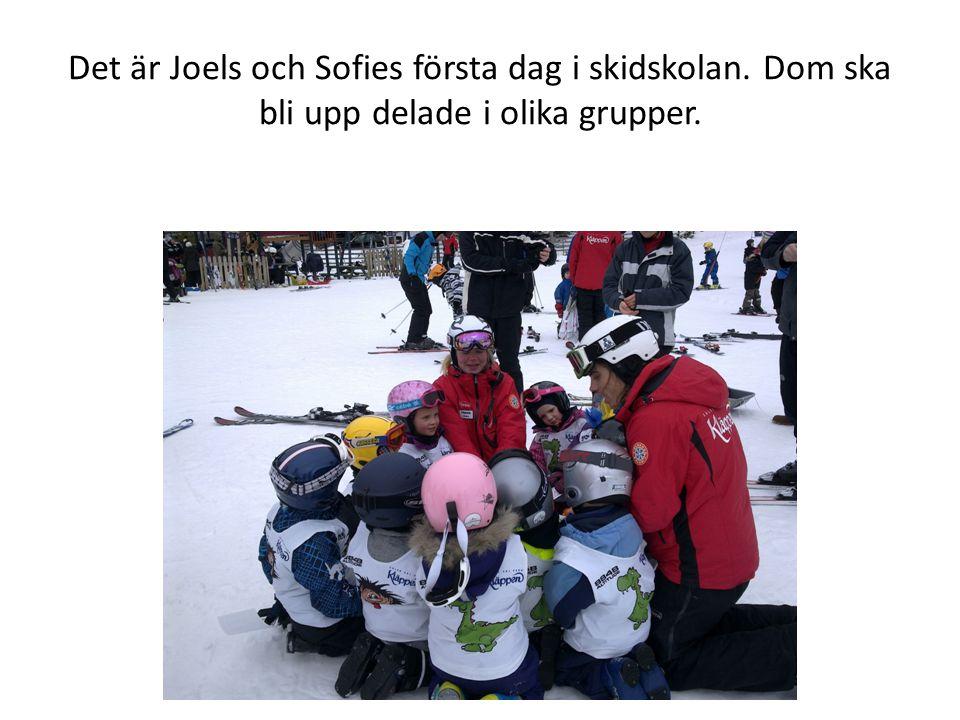 Det är Joels och Sofies första dag i skidskolan. Dom ska bli upp delade i olika grupper.