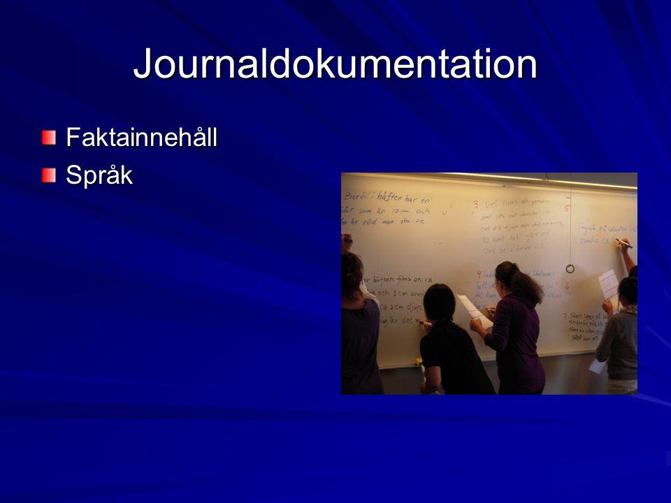 Journaldokumentation FaktainnehållSpråk