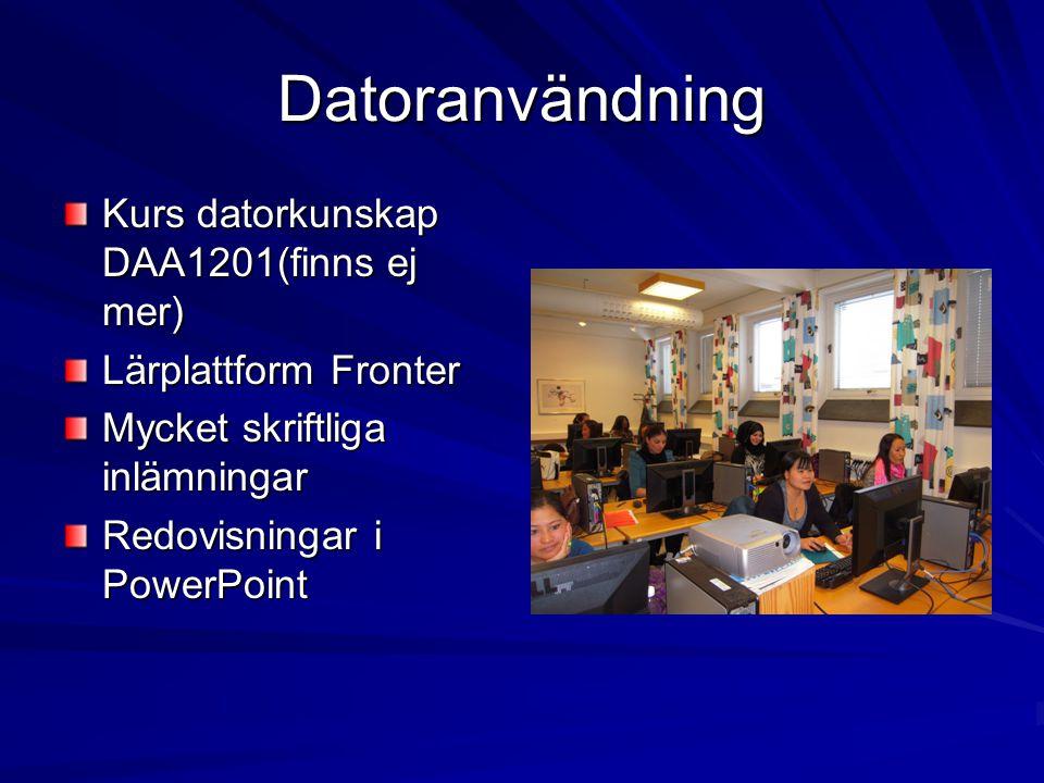 Datoranvändning Kurs datorkunskap DAA1201(finns ej mer) Lärplattform Fronter Mycket skriftliga inlämningar Redovisningar i PowerPoint