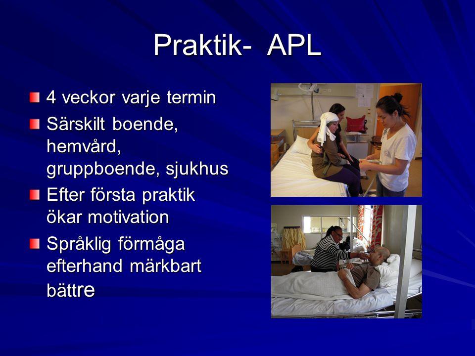 Praktik- APL 4 veckor varje termin Särskilt boende, hemvård, gruppboende, sjukhus Efter första praktik ökar motivation Språklig förmåga efterhand märk