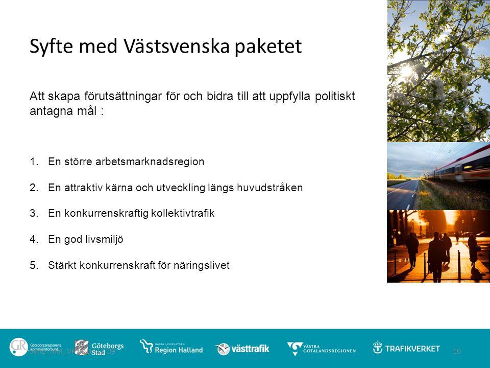 Syfte med Västsvenska paketet Att skapa förutsättningar för och bidra till att uppfylla politiskt antagna mål : 1. En större arbetsmarknadsregion 2.En