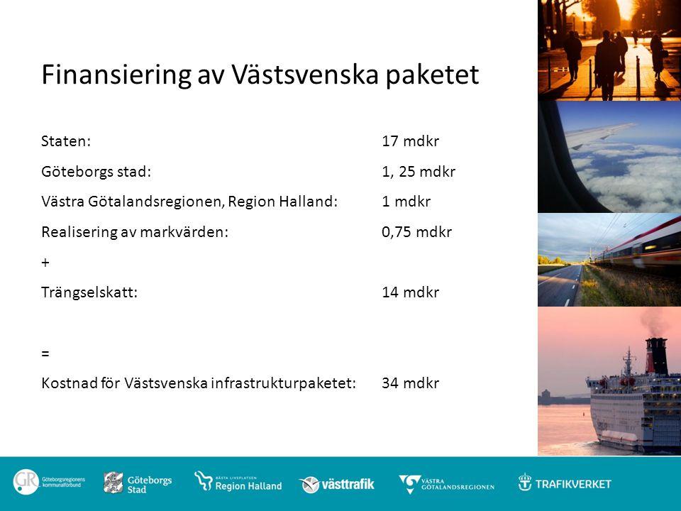 Finansiering av Västsvenska paketet Staten: 17 mdkr Göteborgs stad: 1, 25 mdkr Västra Götalandsregionen, Region Halland: 1 mdkr Realisering av markvär