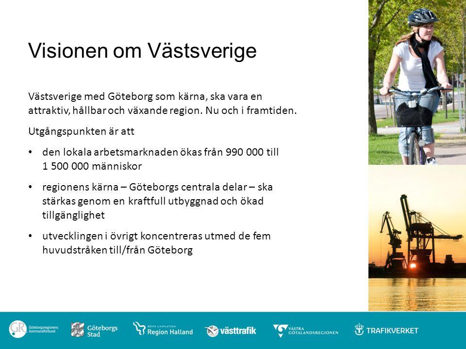Visionen om Västsverige Västsverige med Göteborg som kärna, ska vara en attraktiv, hållbar och växande region. Nu och i framtiden. Utgångspunkten är a