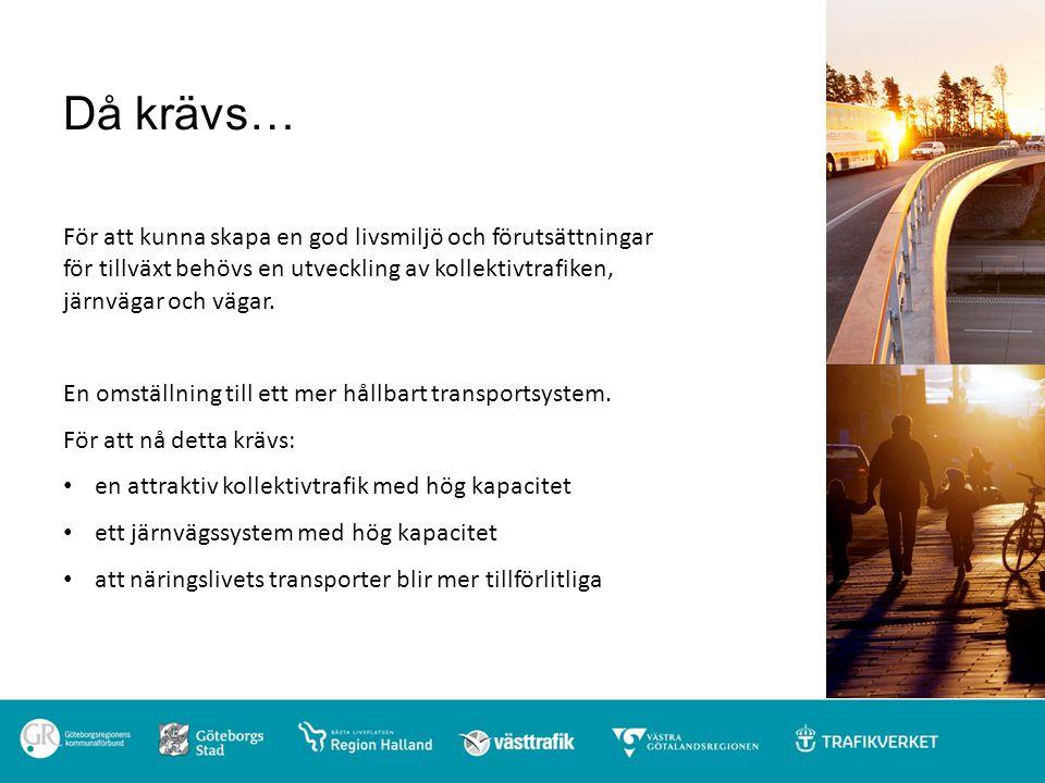 Finansiering av Västsvenska paketet Staten: 17 mdkr Göteborgs stad: 1, 25 mdkr Västra Götalandsregionen, Region Halland: 1 mdkr Realisering av markvärden: 0,75 mdkr + Trängselskatt: 14 mdkr = Kostnad för Västsvenska infrastrukturpaketet: 34 mdkr