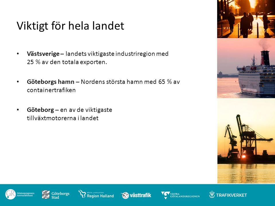 Bidrar till internationell konkurrenskraft Det som är bra för Västsveriges utveckling, med sin stora andel tillverknings- och exportindustri, är också bra för hela landet Tillförlitliga godstransporter till och från Göteborgs hamn, Nordens största, såväl på väg som järnväg är av avgörande betydelse för hela landet och för Norden.