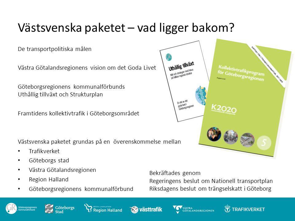 Syfte med Västsvenska paketet Att skapa förutsättningar för och bidra till att uppfylla politiskt antagna mål : 1.