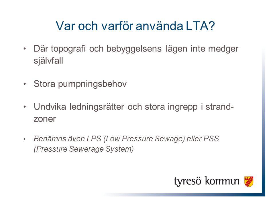 Var och varför använda LTA? Där topografi och bebyggelsens lägen inte medger självfall Stora pumpningsbehov Undvika ledningsrätter och stora ingrepp i