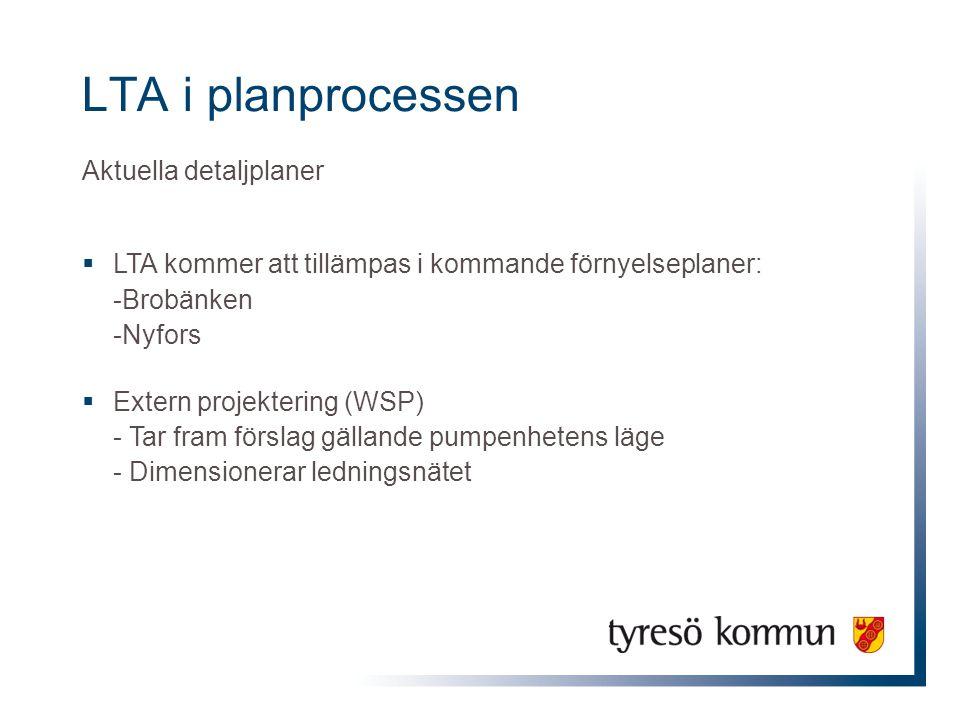 LTA i planprocessen Aktuella detaljplaner  LTA kommer att tillämpas i kommande förnyelseplaner: -Brobänken -Nyfors  Extern projektering (WSP) - Tar