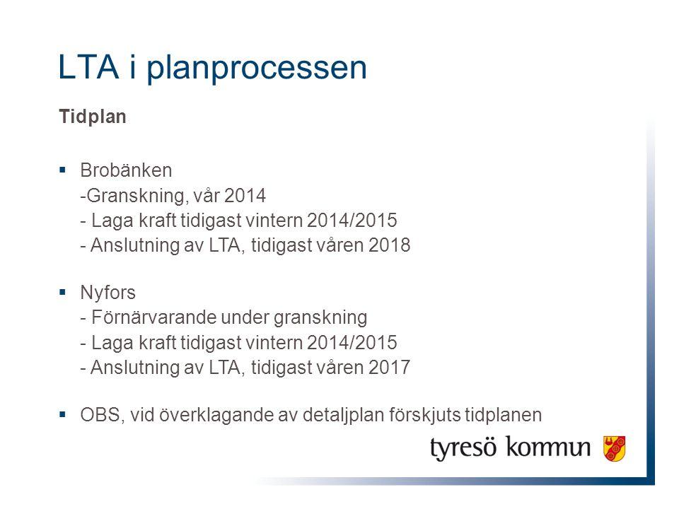LTA i planprocessen Tidplan  Brobänken -Granskning, vår 2014 - Laga kraft tidigast vintern 2014/2015 - Anslutning av LTA, tidigast våren 2018  Nyfor