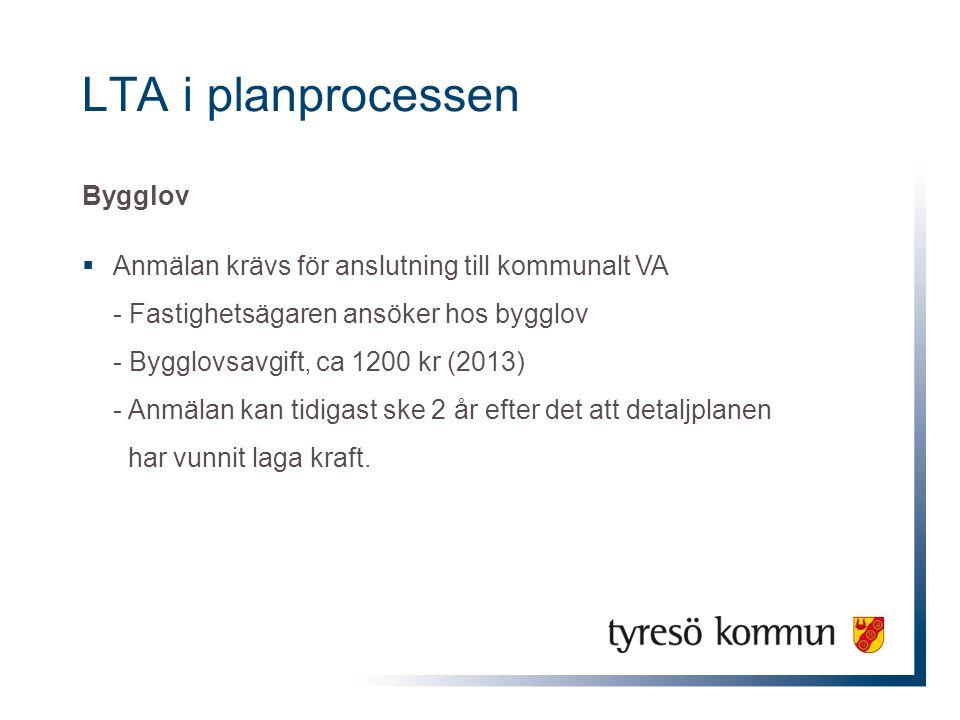 LTA i planprocessen Bygglov  Anmälan krävs för anslutning till kommunalt VA - Fastighetsägaren ansöker hos bygglov - Bygglovsavgift, ca 1200 kr (2013