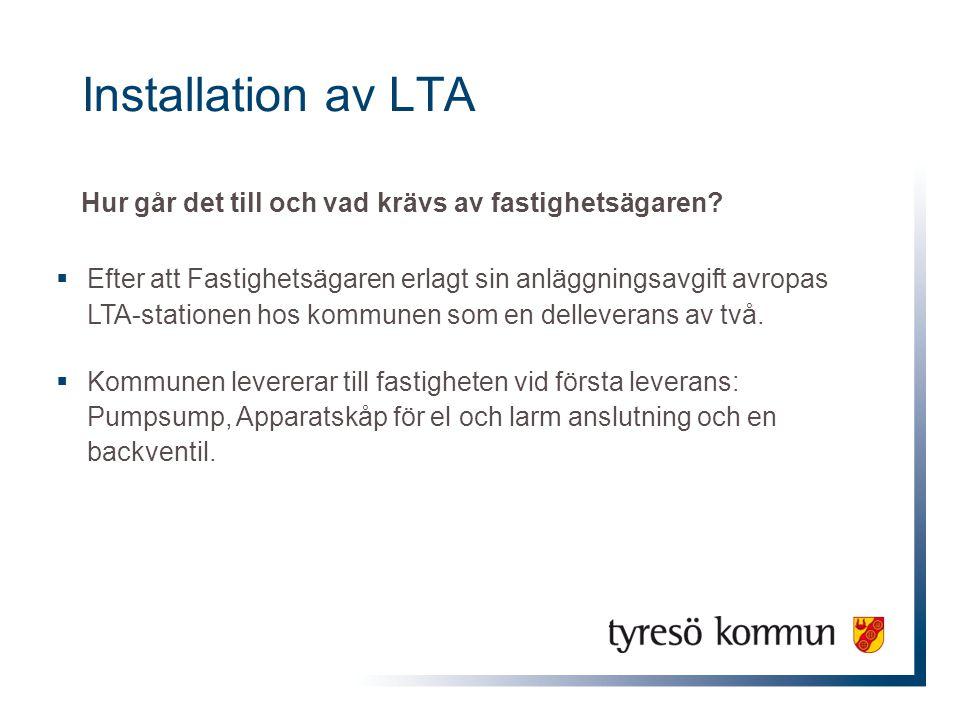 Installation av LTA Hur går det till och vad krävs av fastighetsägaren?  Efter att Fastighetsägaren erlagt sin anläggningsavgift avropas LTA-statione