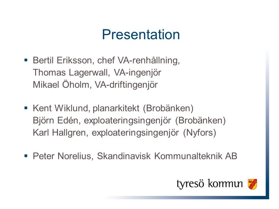 Presentation  Bertil Eriksson, chef VA-renhållning, Thomas Lagerwall, VA-ingenjör Mikael Öholm, VA-driftingenjör  Kent Wiklund, planarkitekt (Brobän