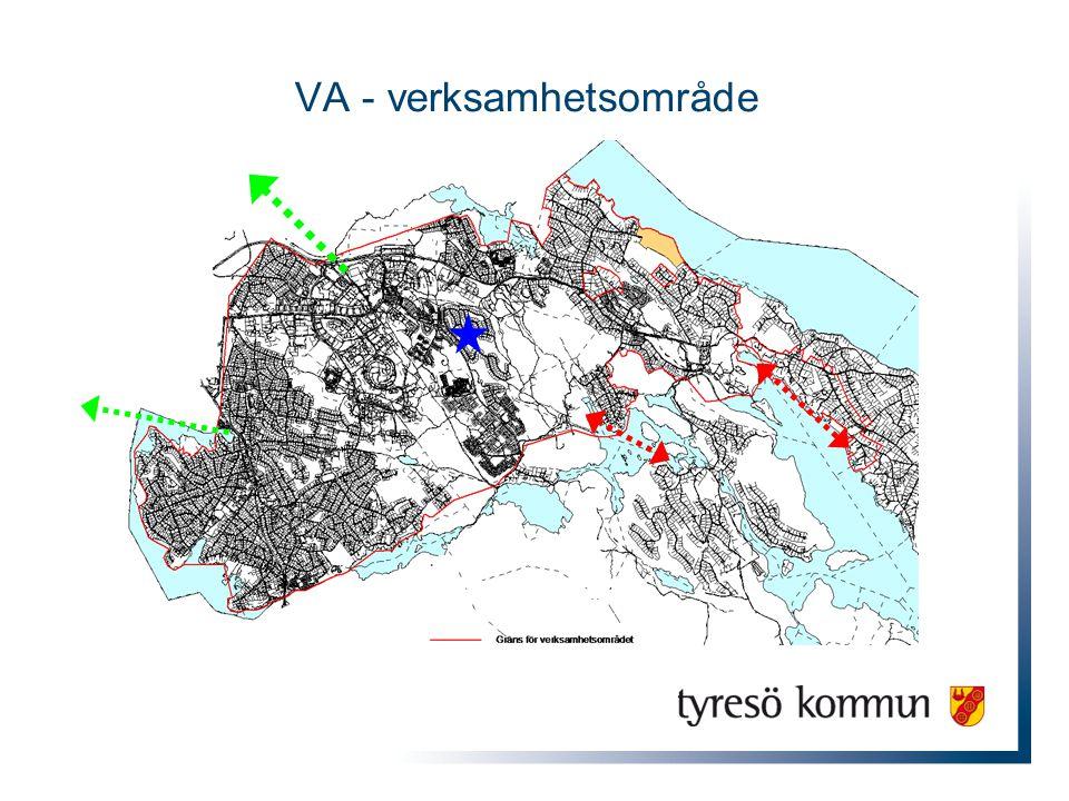 Vatten och Avlopp Renvatten – Inköp av Sthlm Vatten (Norsborg) Försåld volym = ca 2 500 000 m 3 per år Förbrukning ca 7 000 m 3 /dygn Avlopp (spillvatten) – behandling, Sthlm Vatten Henriksdalsverket Avledda volymer = ca 4 000 000 m 3 per år Avloppsmängder ca 8 000 m 3 /dygn