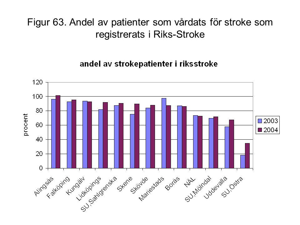 Figur 63. Andel av patienter som vårdats för stroke som registrerats i Riks-Stroke