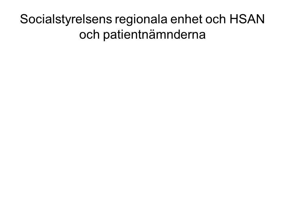 Socialstyrelsens regionala enhet och HSAN och patientnämnderna