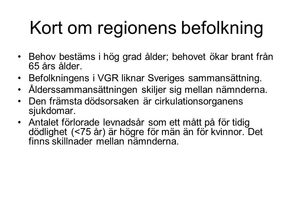 Kort om regionens befolkning Behov bestäms i hög grad ålder; behovet ökar brant från 65 års ålder. Befolkningens i VGR liknar Sveriges sammansättning.