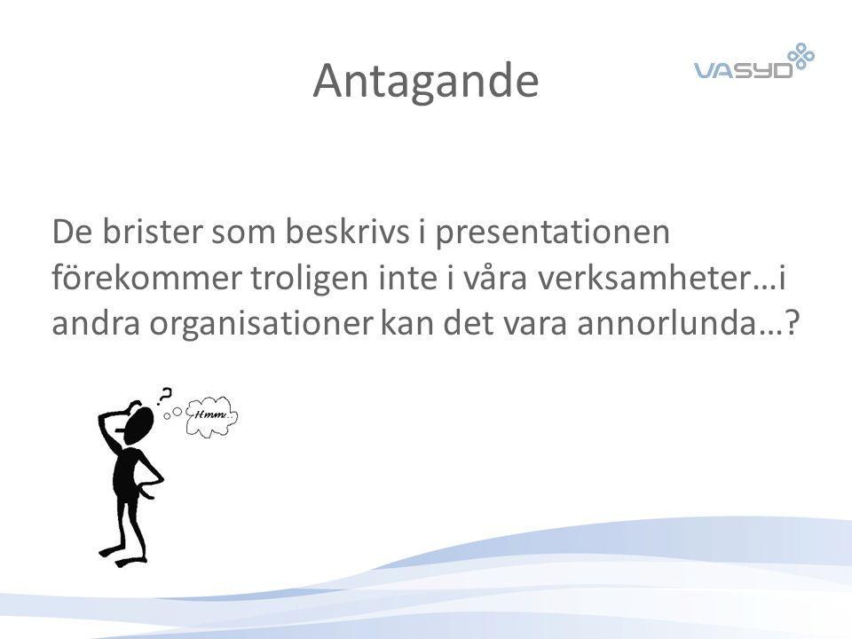 Antagande De brister som beskrivs i presentationen förekommer troligen inte i våra verksamheter…i andra organisationer kan det vara annorlunda…?