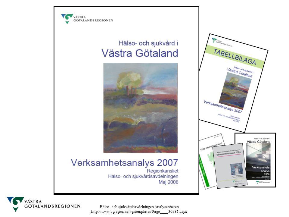 Hälso- och sjukvårdsavdelningen Analysenheten http://www.vgregion.se/vgrtemplates/Page____30931.aspx