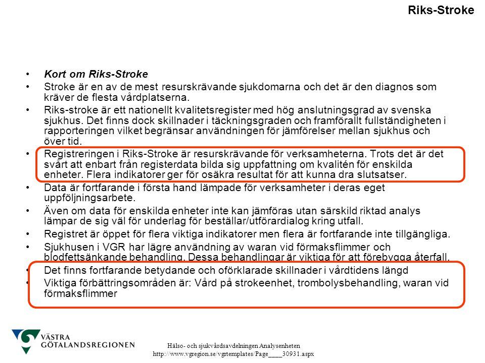 Hälso- och sjukvårdsavdelningen Analysenheten http://www.vgregion.se/vgrtemplates/Page____30931.aspx Riks-Stroke Kort om Riks-Stroke Stroke är en av d