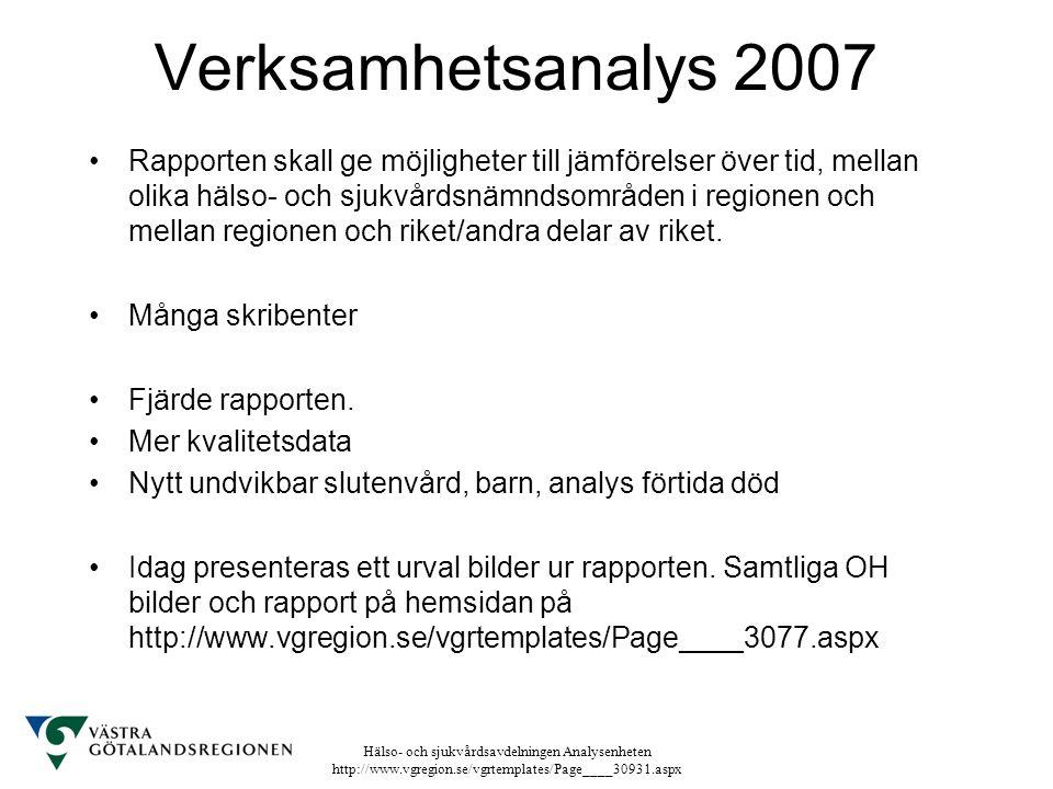 Verksamhetsanalys 2007 Rapporten skall ge möjligheter till jämförelser över tid, mellan olika hälso- och sjukvårdsnämndsområden i regionen och mellan