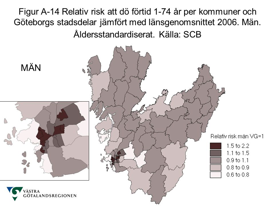 Hälso- och sjukvårdsavdelningen Analysenheten http://www.vgregion.se/vgrtemplates/Page____30931.aspx Figur A-14 Relativ risk att dö förtid 1-74 år per