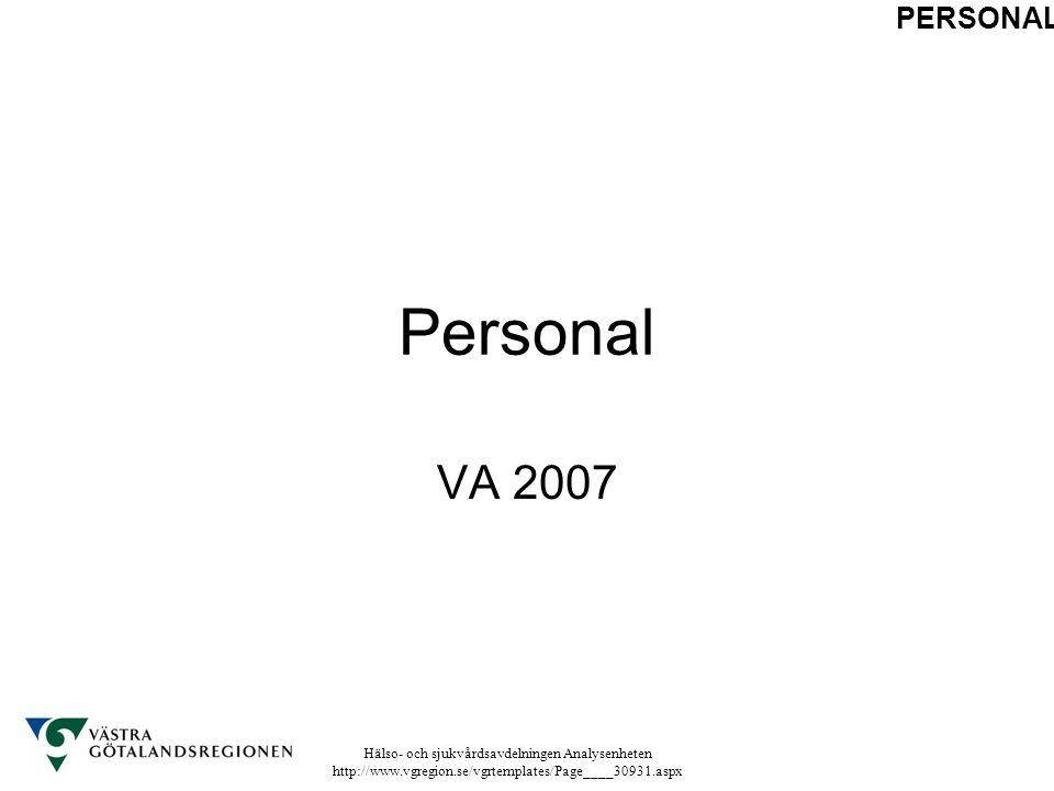 Hälso- och sjukvårdsavdelningen Analysenheten http://www.vgregion.se/vgrtemplates/Page____30931.aspx Personal VA 2007 PERSONAL