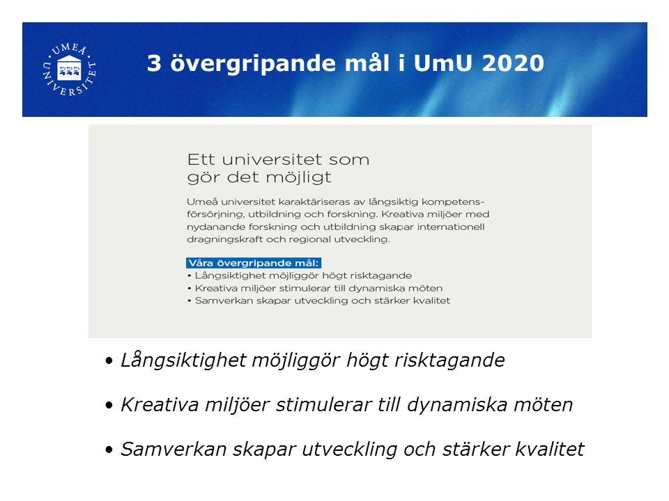 3 övergripande mål i UmU 2020 Långsiktighet möjliggör högt risktagande Kreativa miljöer stimulerar till dynamiska möten Samverkan skapar utveckling och stärker kvalitet