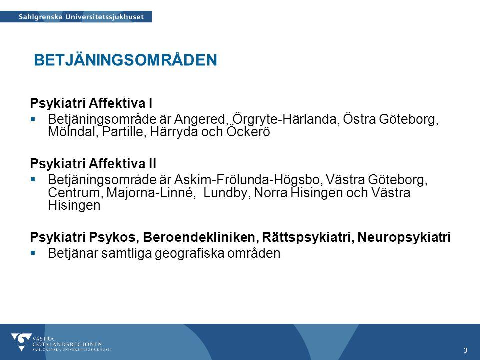 3 Psykiatri Affektiva I  Betjäningsområde är Angered, Örgryte-Härlanda, Östra Göteborg, Mölndal, Partille, Härryda och Öckerö. Psykiatri Affektiva II