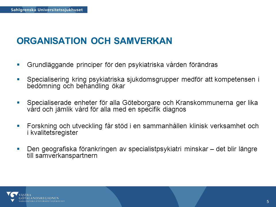 5 ORGANISATION OCH SAMVERKAN  Grundläggande principer för den psykiatriska vården förändras  Specialisering kring psykiatriska sjukdomsgrupper medfö