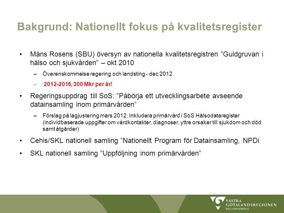 """Bakgrund: Nationellt fokus på kvalitetsregister Måns Rosens (SBU) översyn av nationella kvalitetsregistren """"Guldgruvan i hälso och sjukvården"""" – okt 2"""
