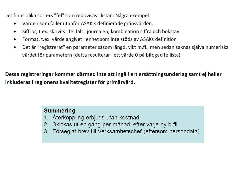Summering 1.Återkoppling erbjuds utan kostnad 2.Skickas ut en gång per månad, efter varje ny b-fil 3.Förseglat brev till Verksamhetschef (eftersom per