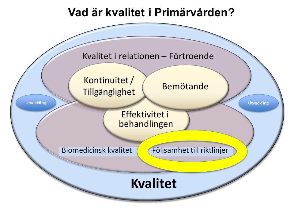 Kvalitet Biomedicinsk kvalitet Följsamhet till riktlinjer Kvalitet i relationen – Förtroende Effektivitet i behandlingen Effektivitet i behandlingen K