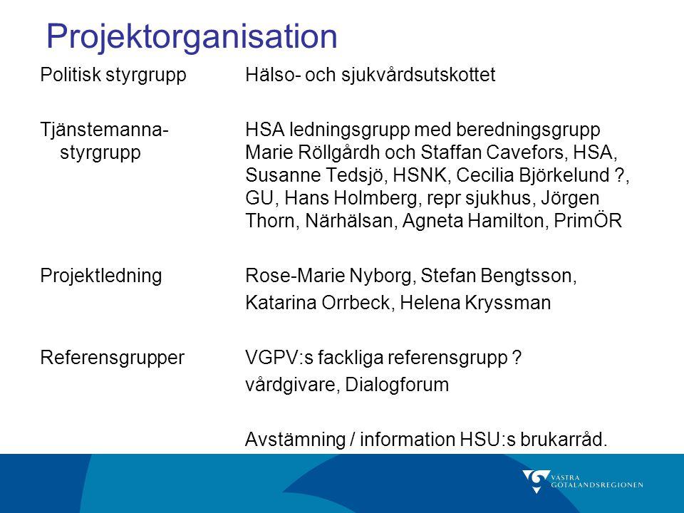 Projektorganisation Politisk styrgruppHälso- och sjukvårdsutskottet Tjänstemanna-HSA ledningsgrupp med beredningsgrupp styrgruppMarie Röllgårdh och St