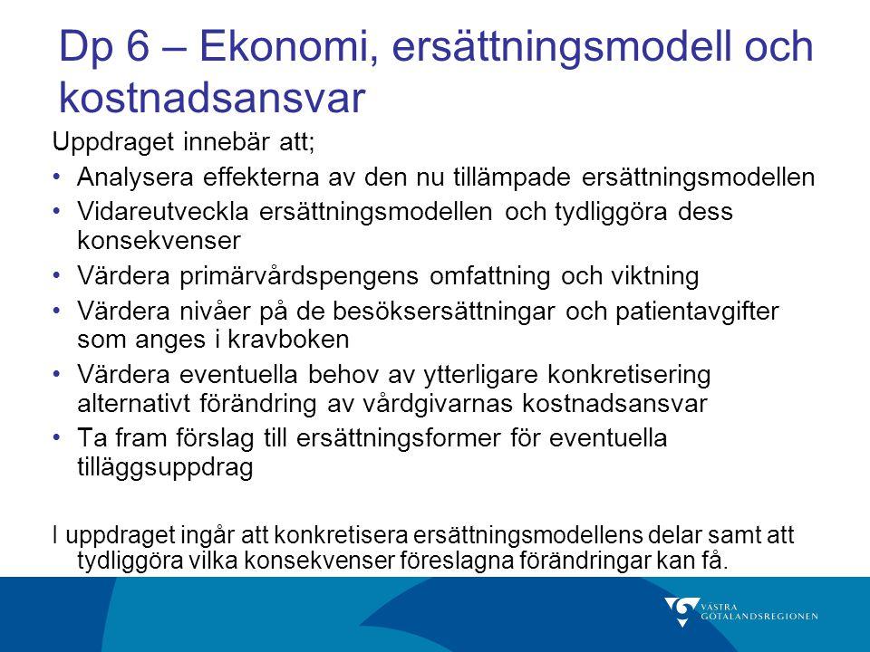 Dp 6 – Ekonomi, ersättningsmodell och kostnadsansvar Uppdraget innebär att; Analysera effekterna av den nu tillämpade ersättningsmodellen Vidareutveck