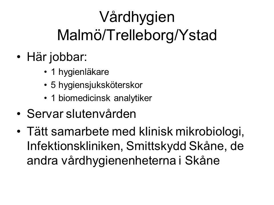 Vårdhygien Malmö/Trelleborg/Ystad Här jobbar: 1 hygienläkare 5 hygiensjuksköterskor 1 biomedicinsk analytiker Servar slutenvården Tätt samarbete med klinisk mikrobiologi, Infektionskliniken, Smittskydd Skåne, de andra vårdhygienenheterna i Skåne